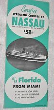 Steamship Brochure: Weekend Cruises to Nassau Ss Florida December, 1956
