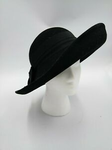 Betmar Vintage Black Wool Felt Cloche Sun Hat - Banded Bow - Made in USA