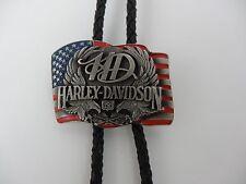 Vtg Harley-Davidson Bolo Tie Siskiyou Buckle Silver 1990 American Flag USA