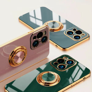 For OPPO Find X3 Lite / X3 X2 Pro Plating Silicone Ring Holder Stand Cover Case