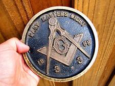 Freemason Masonic Scottish Rite 33rd Degree Brass Plaque 1969 Past Masters Night