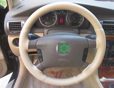 DIY Leather Steering Wheel Cover Breathable Anti Slip Odorless Beige