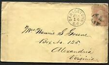 GEORGETOWN SC FEB 14 1860's #65 on cover to Alexandria VA