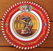 Vtg Restoration Hardware Red Enamel Metal Plate Antique Circus Elephant Clown
