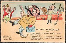 Kénavo. Edouard VII. La chute de Delcassé. Aquarelle originale 1905