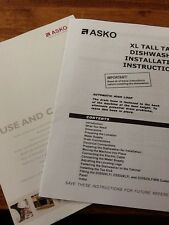 ASKO XL TALL TANK DISHWASHER INSTRUCTIONS ONLY INSTALATION AND USE AND CARE