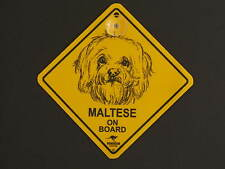 Maltese On Board Dog Breed Yellow Car Swing Sign Gift