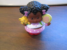 Fisher Price Little People AA girl with teddy multicultural set family cute bow