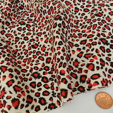 """RED leopard animal print 100% cotton poplin fabric 44 """" wide * by the half metre"""