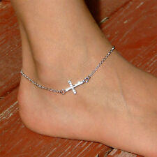 Danity w Swarovski Crystal ~Sideways Cross~ Celebrity Religious Chain Anklet New
