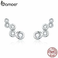 BAMOER Women Stud Earrings S925 Sterling silver Shiny elegance With CZ Jewelry