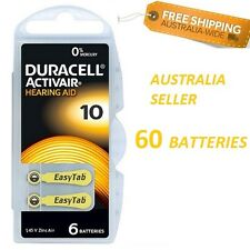 60 x Duracell Hearing Aid Batteries Size 10 Yellow ~ Exp 2020-06