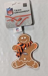Denver Broncos Christmas Tree Holiday Ornament New - Gingerbread Man Iced Icing