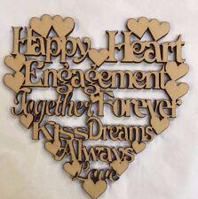 1 x engagment Wording Heart 150x150mm  Plaque Heart Mdf wood laser cut
