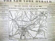 <1862 CIVIL WAR display newspaper MAP BOWLING GREEN Kentucky BATTLE of SOMERSET