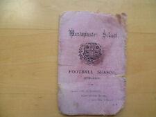 Westminster School 1907-08 Football Season Fixture List