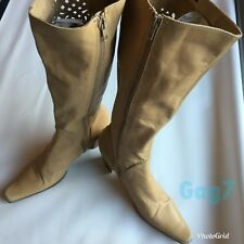 """Womens Bronx Beige Leather Knee High Heel (3"""") Boots Size 40"""