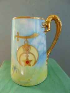 ANTIQUE PORCELAIN MASONIC TANKARD with GILT DRAGON HANDLE