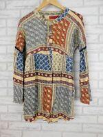 Tigerlily Shirt dress Grey blue orange print Sz 8? Long flared sleeves patchwork