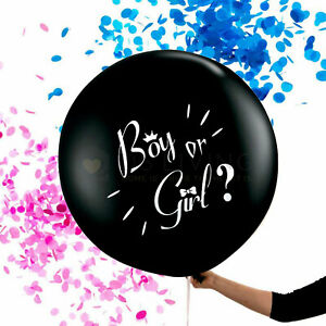 """Large Gender Reveal Balloon With Baby Girl Pink Or Boy Blue Confetti 18"""" 36"""""""
