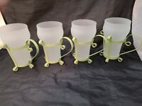 4 Vintage Soda Fountain Parfait Sundae Frosted Glasses w/ Metal Green Holders