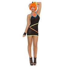 Elegant Moments Little Black Neon Strap Detail Halter Mini Dress Sleeveless O/s