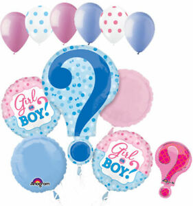 11pc Baby Gender Reveal Boy or Girl Balloon Bouquet Party Shower He She Question