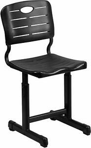 Adjustable Height Black Student Chair with Black Pedestal Frame  New