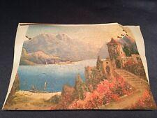Antique C1930 Wooden Jigsaw Puzzle 218 pcs Castle Lake Mountains