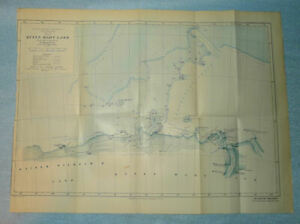 Antique 1914 Map of Queen Mary Land Antarctic Expedition, Antarctica - 20x15