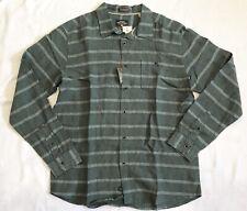 Mens Quicksilver Green Linen Button Down Shirt Sz M NWT