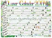 PREORDER 2018 A3 Lunar Moon Wall Chart Pagan Wiccan calendar planner poster
