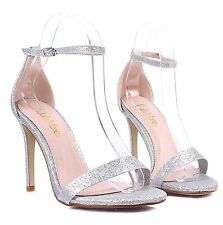 "Silver Mary Janes Ankle Strap Sexy Womens 4"" High Heels Dress Shoes Size 9"