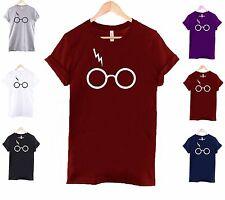 Lightning glasses t shirt harry potter inspired top mens ladies slogan street