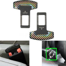 2Pcs Universal Carbon Fiber Car Safety Seat Belt Buckle Alarm Stopper Clip NEW