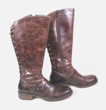 30S GEOX Damen Reiter Stiefel Boots Leder braun marmoriert Gr. 40 Schnürdetail