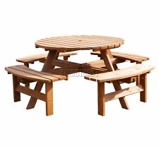 WestWood 8 Seater Wooden Pub Bench Round Picnic Table furniture Garden Patio