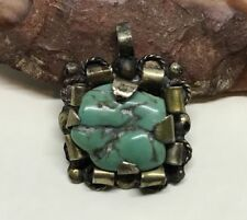 Vintage 1940's  Mexico  Handcrafted  Sterling Silver  Turquoise Nugget  Necklace