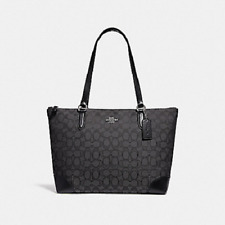 Coach F29958 Zip Top Tote In Signature Jacquard Handbag Shoulder Bag Purse Black