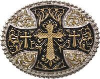 Silver Gold Tone Large Cross Belt Buckle Bling