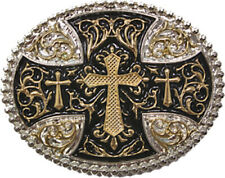 Silver Gold Tone Large Cross Belt Buckle Bling