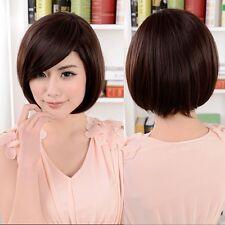 lady fashion short bob wig synthetic brown hair daily wear full Wig