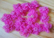 10pcs FUCHSIA Pink Chiffon Organza Fabric Beaded Daisy Flowers Lace Applique