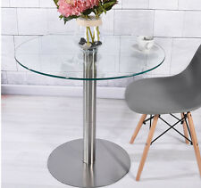 80cm Clear Round Tempered Glass Dining Table Chromed Legs Modern Home Office