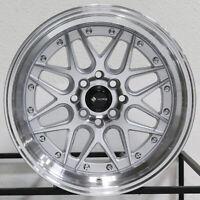 "4-New 16"" Vors VR7 Wheels 16x8 4x100/4x114.3 20 Silver Rims 73.1"
