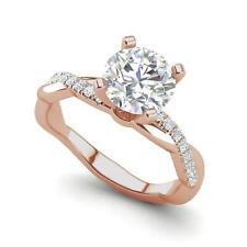 Twist 0.75 Carat SI1/F Round Cut Diamond Engagement Ring Rose Gold