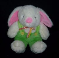 VINTAGE DANDEE WHITE PINK GREEN BABY BUNNY RABBIT STUFFED ANIMAL PLUSH TOY