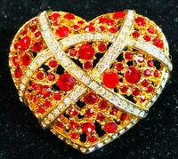 Jewelry Heart Brooch Pin - Red and Clear Rhinestones Love