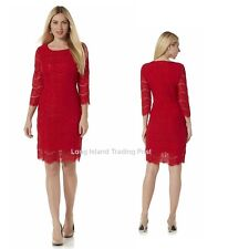 Red Lace Sheath Cocktail Dress Vintage Look Dinner Party Wedding NWT   Med  8 10