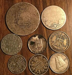 LOT OF 8 CANADA AND UK GB GREAT BRITAIN SILVER COINS